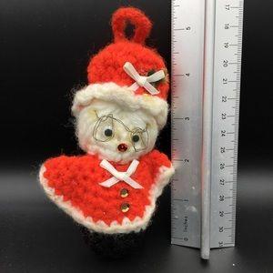 Vintage hand crochet Ms Santa Christmas Ornament